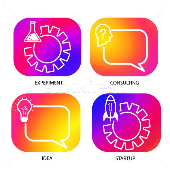 Ayarlamak iş logo renk eğim ikon şablon Stok fotoğraf © tandaV