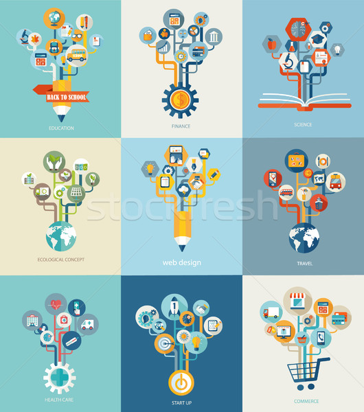 Abstract trees with icons for web design. Stock photo © tandaV