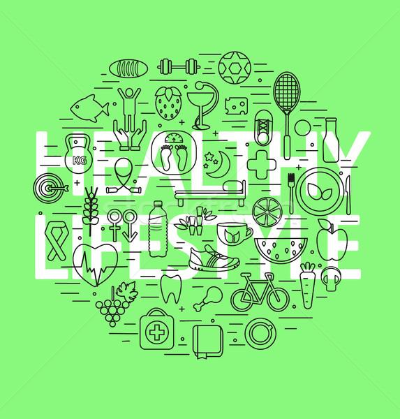 Linha projeto verde comida abstrato Foto stock © tandaV