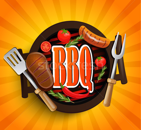 Bbq grill communie vector ontwerp label Stockfoto © tandaV