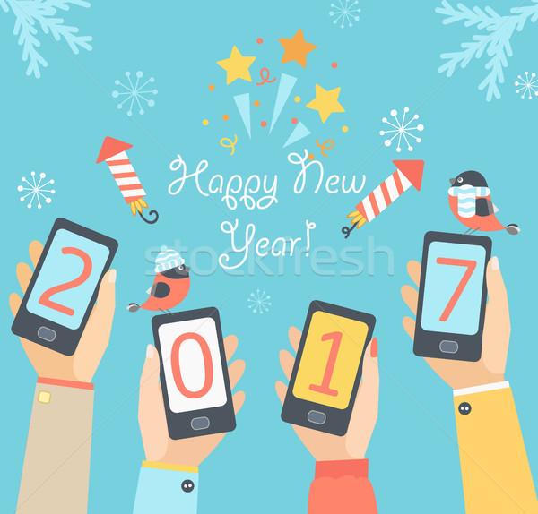 мобильных Новый год рождество праздников дизайна приложения Сток-фото © tandaV