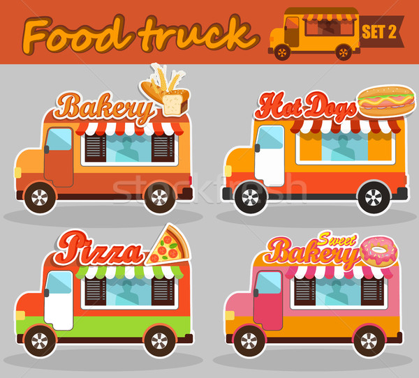 Stock photo: Set of vector illustrations food truck.
