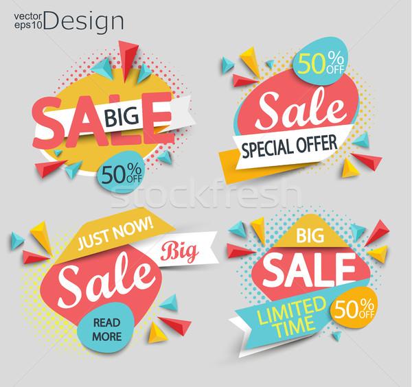 Vásár · szett · címkék · divat · terv · háló - vektorgrafika ... efe1463711