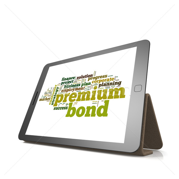 Premium bond word cloud on tablet Stock photo © tang90246