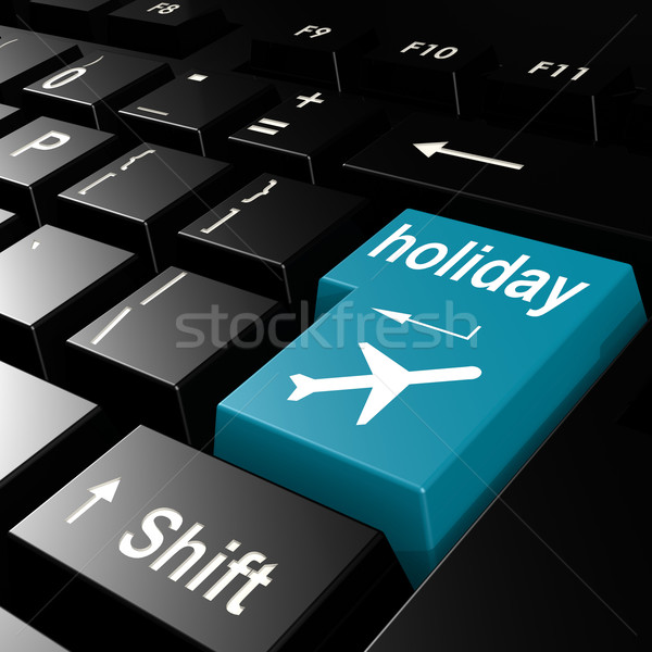 Holiday word on the blue enter keyboard Stock photo © tang90246
