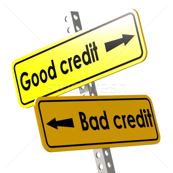 Good and bad credit with yellow road sign Stock photo © tang90246
