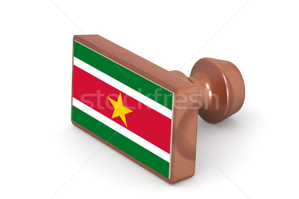 Wooden stamp with Suriname flag Stock photo © tang90246