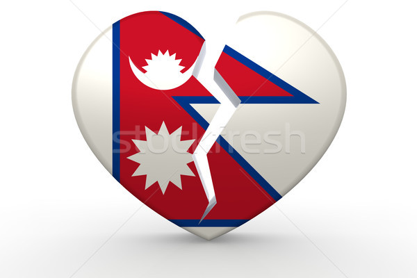 Broken white heart shape with Nepal flag Stock photo © tang90246