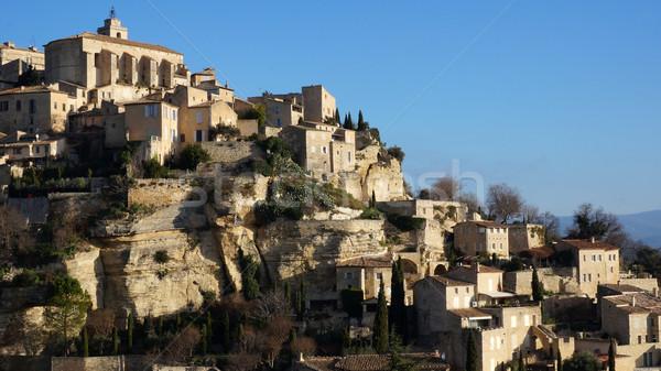 Köy fransız manzara dağ binalar kaya Stok fotoğraf © tang90246