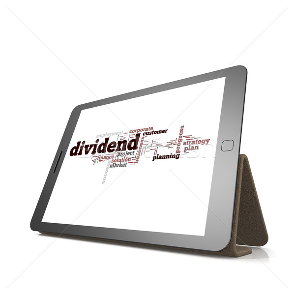 Dividend word cloud on tablet Stock photo © tang90246