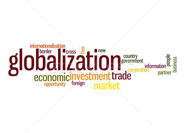 Globalização nuvem da palavra informação país livre parceiro Foto stock © tang90246