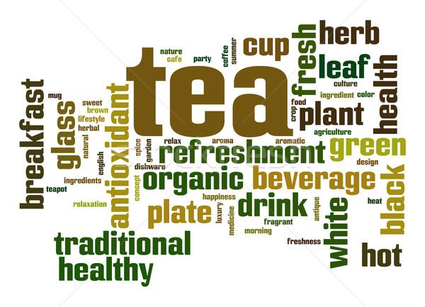 çay kelime bulutu yaprak cam içmek sıcak Stok fotoğraf © tang90246