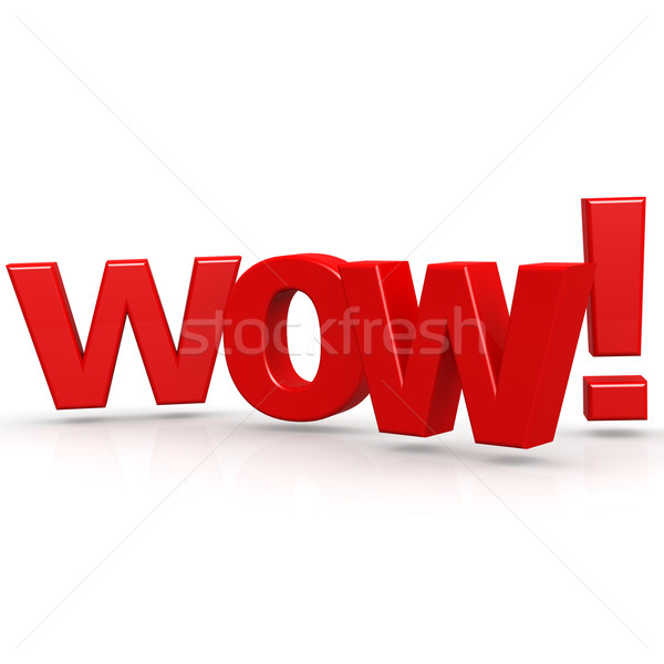 Wow słowo moc pop niespodzianką tekst Zdjęcia stock © tang90246