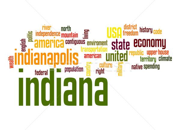 Indiana szófelhő felhő szabadság történelem grafikus Stock fotó © tang90246