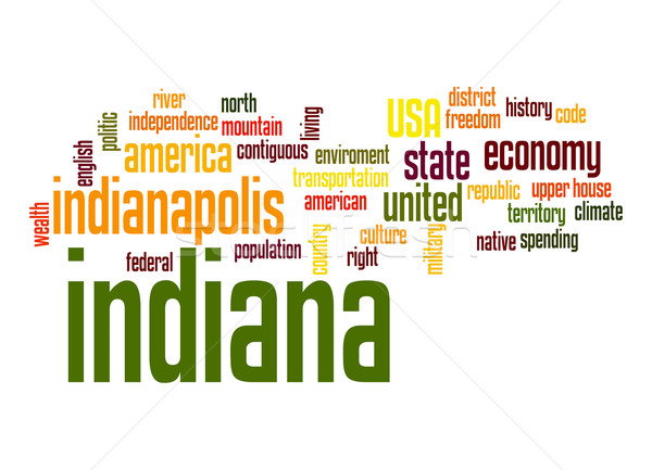 Indiana nuvem da palavra nuvem liberdade história gráfico Foto stock © tang90246