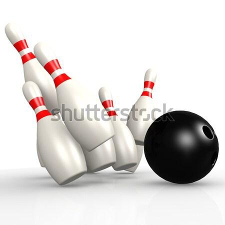 Pixeles bowling tő kép renderelt mű Stock fotó © tang90246