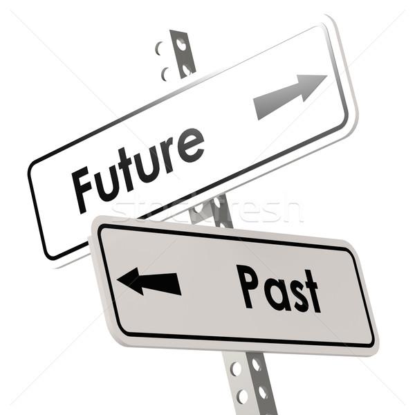 Gelecek geçmiş yol işareti beyaz renk renkli görüntü Stok fotoğraf © tang90246