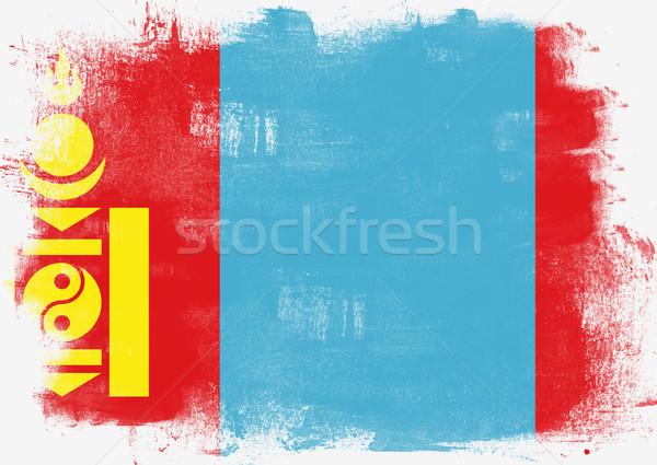 Zászló Mongólia festett ecset szilárd absztrakt Stock fotó © tang90246