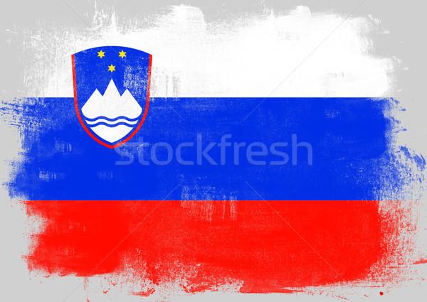 Bandiera Slovenia verniciato pennello solido abstract Foto d'archivio © tang90246