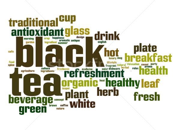 Czarny herbaty chmura słowo liści szkła pić Zdjęcia stock © tang90246