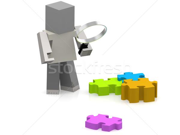 Fantoccio lente di ingrandimento puzzle immagine reso Foto d'archivio © tang90246