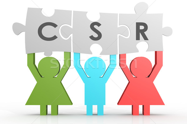 Corporate sozialen Verantwortung Puzzle line Bild Stock foto © tang90246