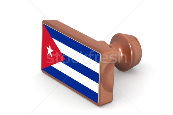 Wooden stamp with Cuba flag Stock photo © tang90246