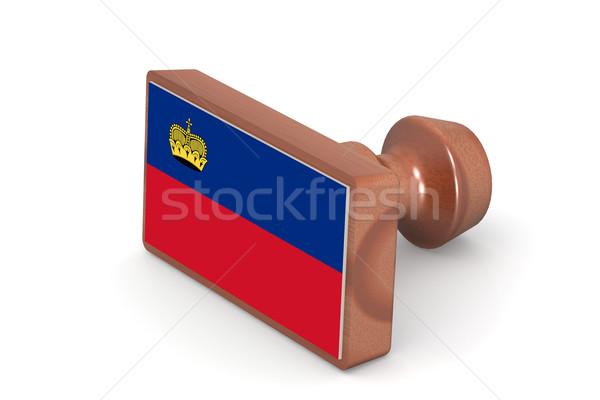 Wooden stamp with Liechtenstein flag Stock photo © tang90246