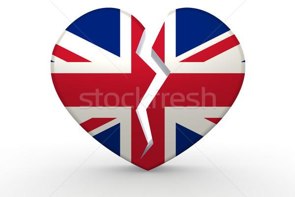 Stok fotoğraf: Kırık · beyaz · kalp · şekli · krallık · bayrak · 3D
