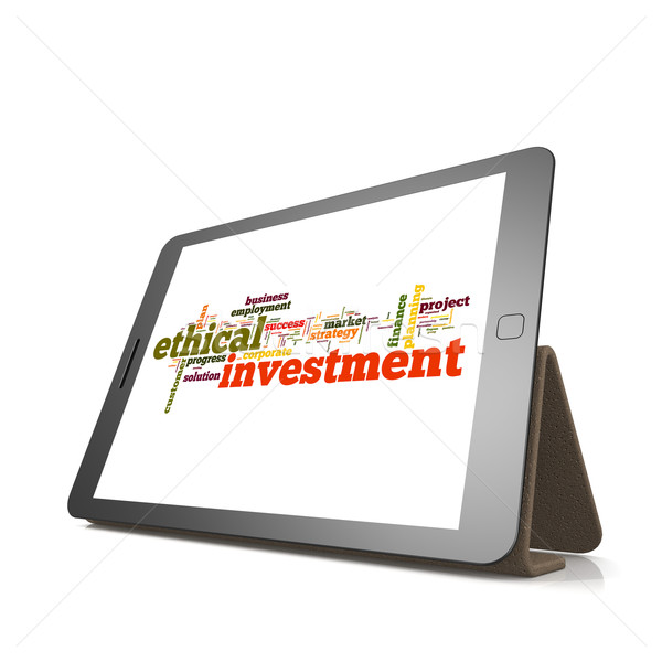 Ethical investmentword cloud on tablet Stock photo © tang90246