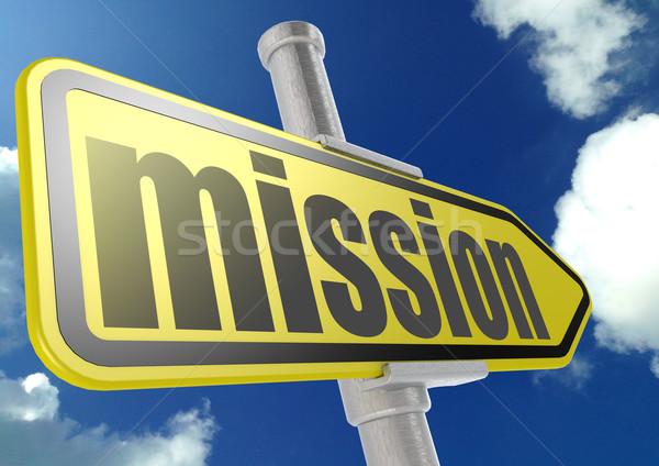 Geel verkeersbord missie woord blauwe hemel afbeelding Stockfoto © tang90246