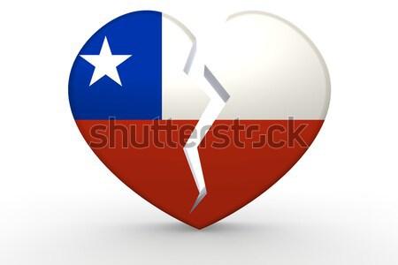 Törött fehér szív alak zászló 3D renderelt kép Stock fotó © tang90246