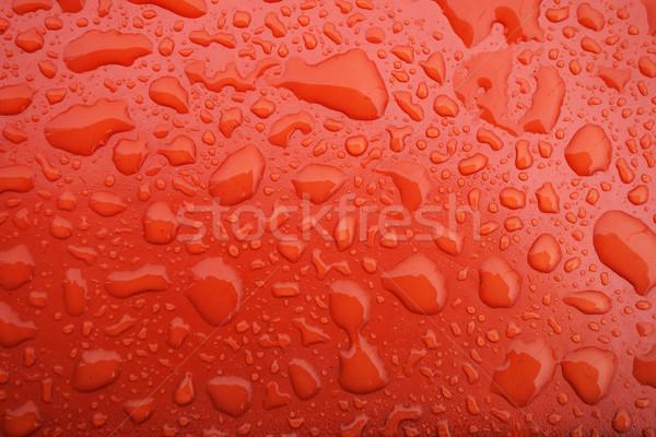 água gotículas vermelho metálico textura abstrato Foto stock © tang90246