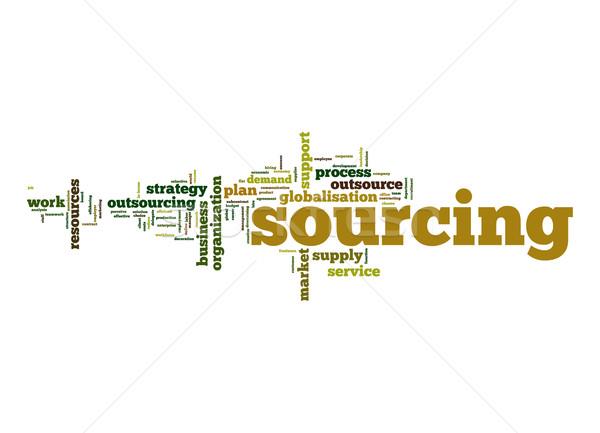Sourcing word cloud Stock photo © tang90246