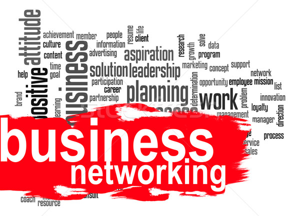 Business networking word cloud with red banner Stock photo © tang90246