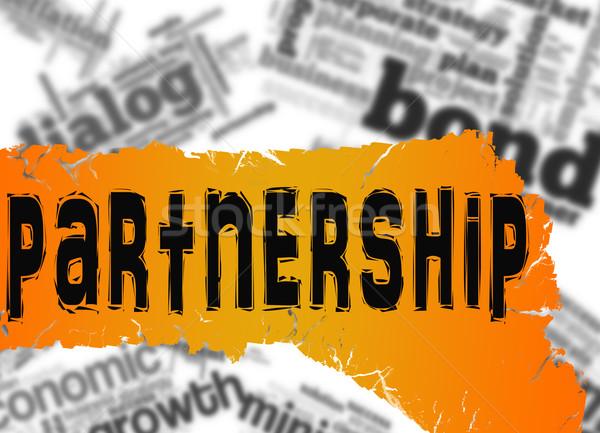 Szófelhő együttműködés szó citromsárga piros szalag Stock fotó © tang90246