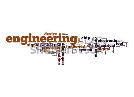 Engineering woordwolk digitale elektronische chip tag Stockfoto © tang90246