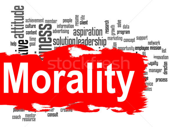 Morality word cloud with red banner Stock photo © tang90246