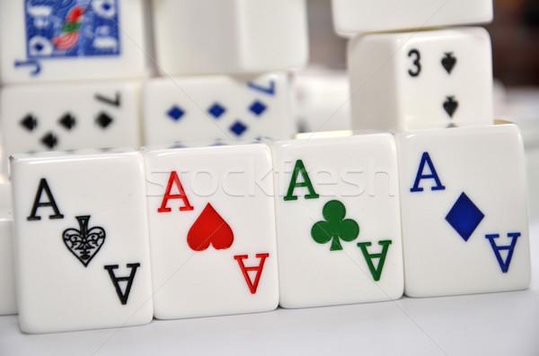 Mahjong set with four Aces  Stock photo © tang90246