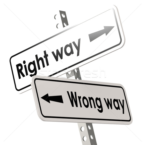 Right way and wrong way with white road sign Stock photo © tang90246