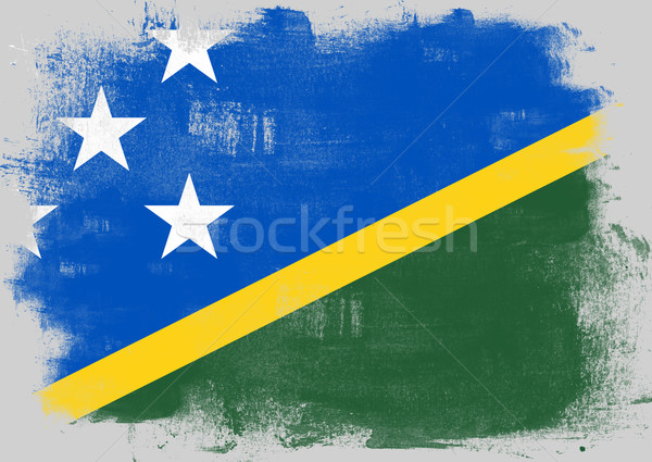 Flag of Solomon Islands painted with brush Stock photo © tang90246