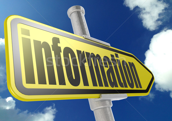 Yellow road sign with information word under blue sky Stock photo © tang90246