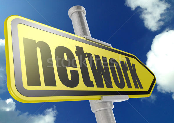Yellow road sign with network word under blue sky Stock photo © tang90246