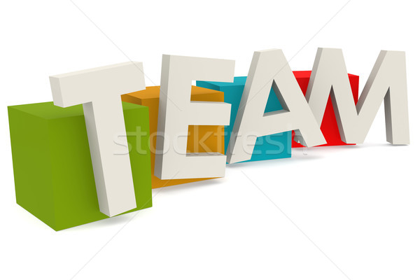 Colorful cube with team word Stock photo © tang90246