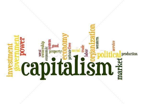 Kapitalizmus szófelhő felhő erő szabad címke Stock fotó © tang90246