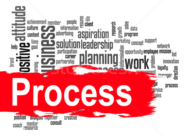 Process word cloud with red banner Stock photo © tang90246