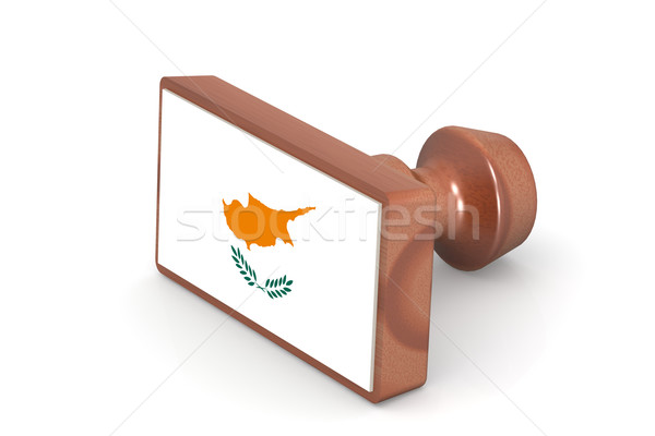 Wooden stamp with Cyprus flag Stock photo © tang90246