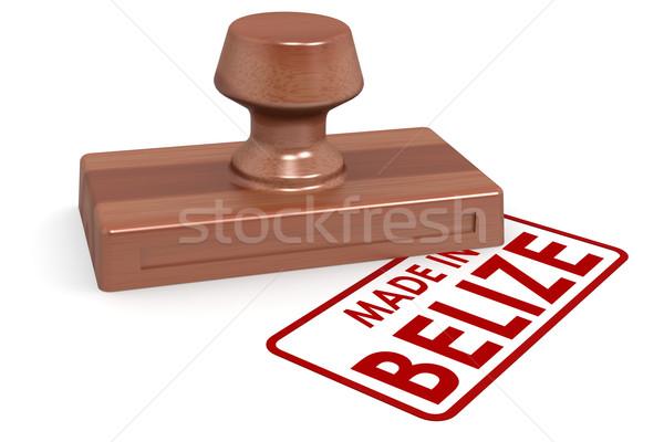 Fából készült bélyeg Belize kép renderelt mű Stock fotó © tang90246