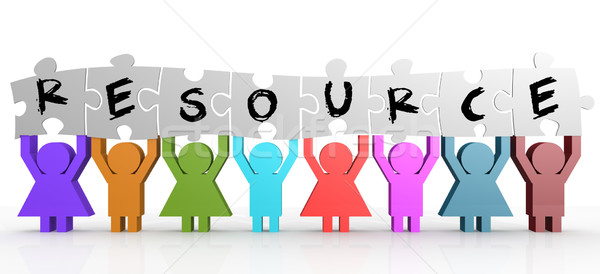 Marionnette tenir puzzle ressource mot affaires Photo stock © tang90246