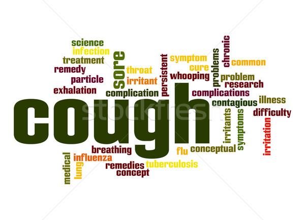 Hoesten woordwolk onderwijs roken onderzoek conceptuele Stockfoto © tang90246